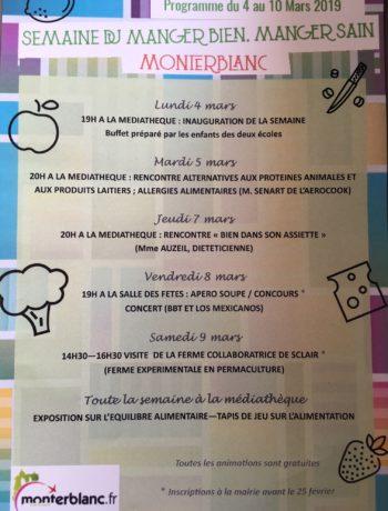programme de la semaine manger bien manger sain à Monterblanc