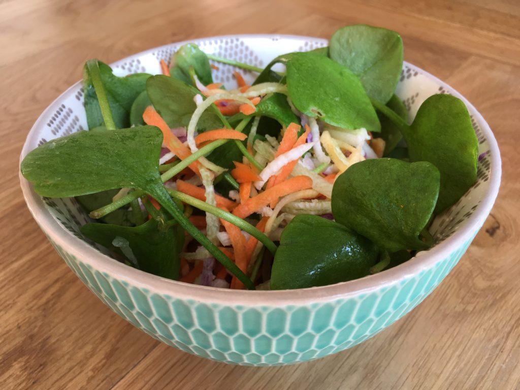 Salade folle de pourpier et légumes râpés