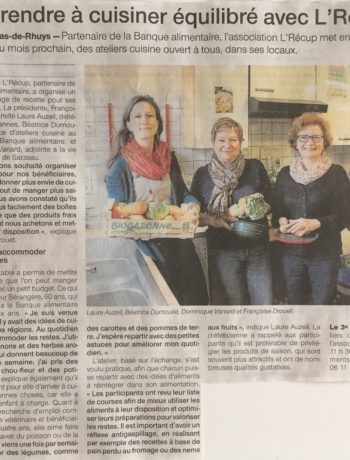 Article Ouest France sur l'atelier 'manger équilibré avec un petit budget' réalisé avec L'Récup à St Gildas.