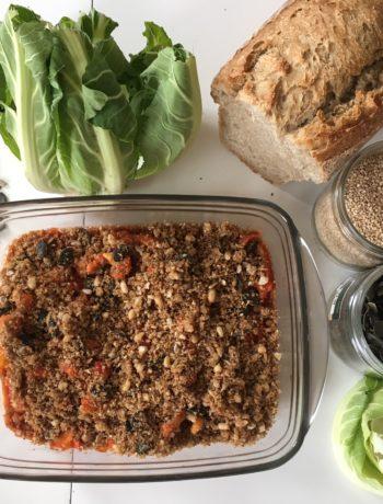 Croustillant de chou-fleur à la tomate et aux graines