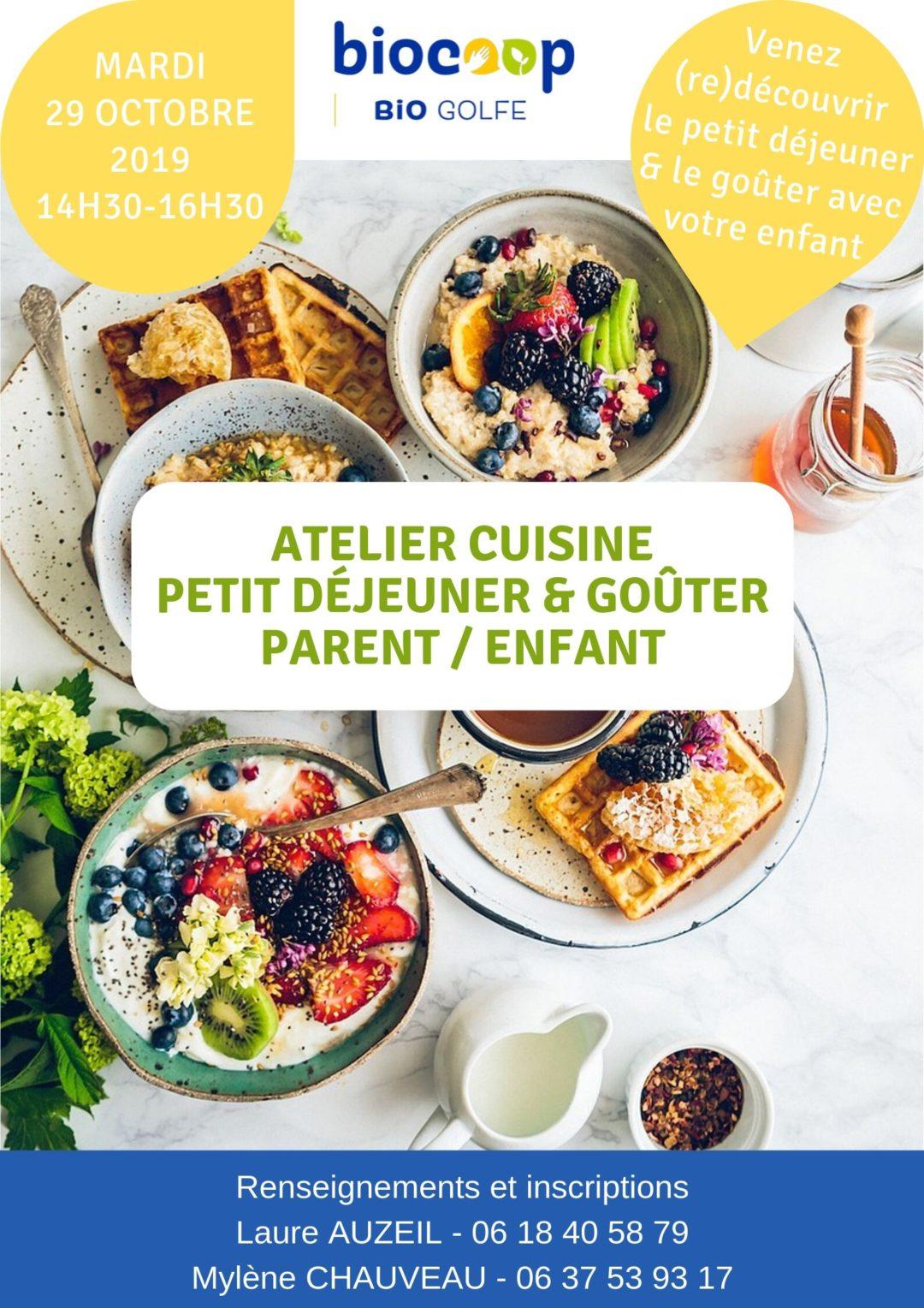 Atelier de cuisine enfant/parent sur le thème du goûter et petit déjeuner