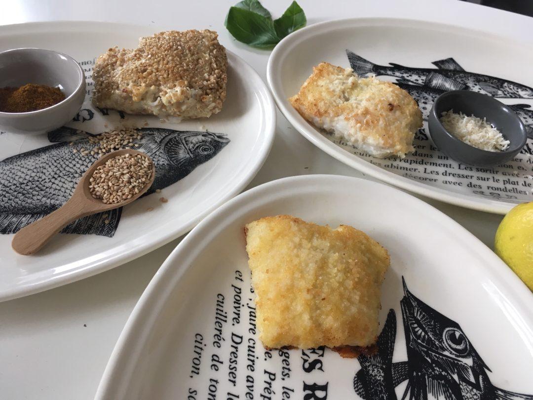 poissons panés maison : 3 variantes. graines ; coco ; chapelure