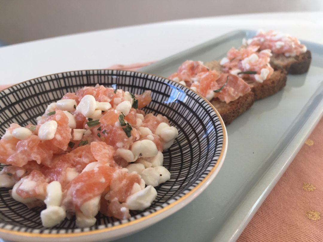 Tartinade au saumon fumé, cottage cheese et estragon