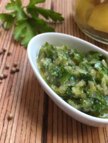 Sauce persil et citron confit, type 'chermoula'