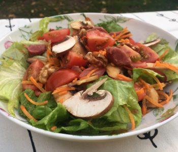 Salade de crudités aux gésiers de canard