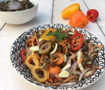 Salade de lentilles et légumes croquants